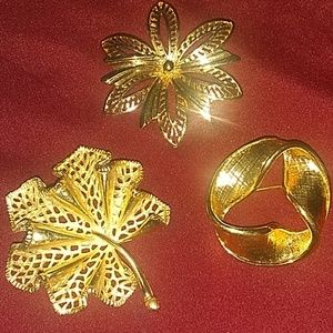 Three  12k Vintage Gold brooches.